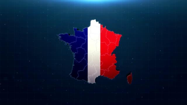 vidéos et rushes de carte 4k france avec drapeau national - carte france