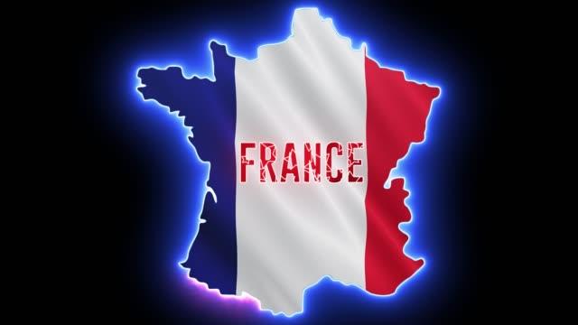 vidéos et rushes de carte de france avec lumière au néon. aperçu créatif de français pays - carte france