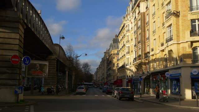 france morning sunny time paris city traffic street dupleix metro line panorama 4k video