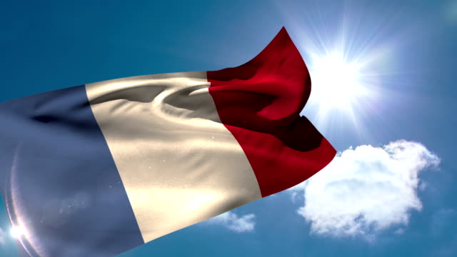 France national flag blowing in the breeze video