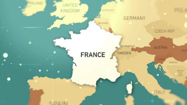 France on World Map stock video