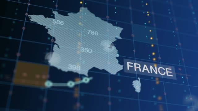 vidéos et rushes de la france augmente le graphique et les chiffres, le nombre de morts - avec l'étiquette de pays - carte de france