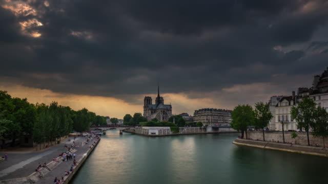 france storm sky notre dame de paris siene river bay panorama 4k time lapse video