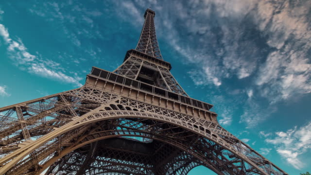 france sunset twilight eiffel tower blue sky down to top view paris 4k time lapse video