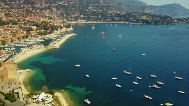 France, the azure coast of many yachts of the sea, the coast of the city France, Villefranche-sur-mer, aerial view by drone south stock videos & royalty-free footage