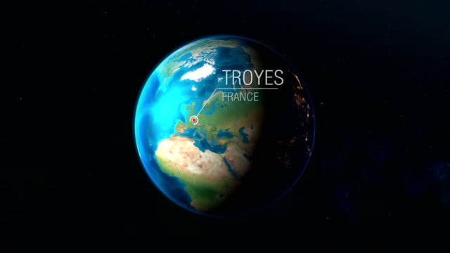 France - Troyes - Zooming from space to earth