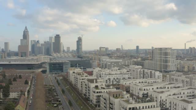 Frankfurt downtown aerial flying up 10bit video