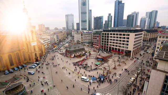 Frankfurt Downtown mit Sonne, Zeitraffer – Video