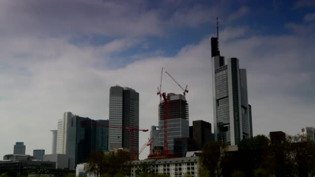 frankfurt financial district time lapse - post modern architecture stock videos & royalty-free footage