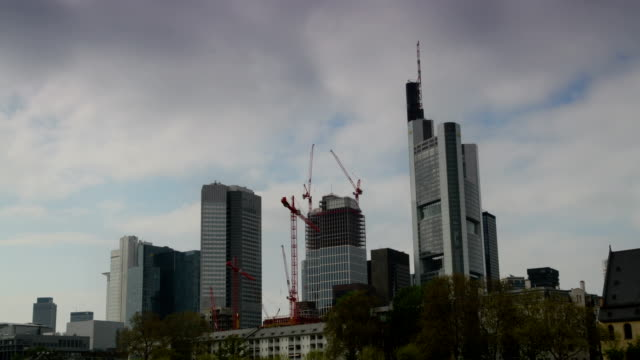 frankfurt germany business district - post modern architecture stock videos & royalty-free footage