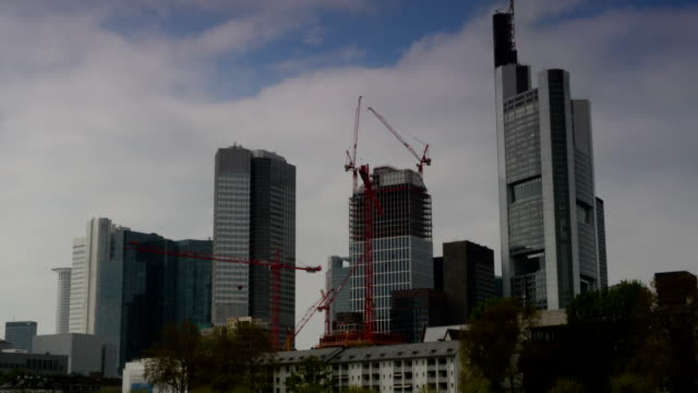 frankfurt germany financial district time lapse - post modern architecture stock videos & royalty-free footage