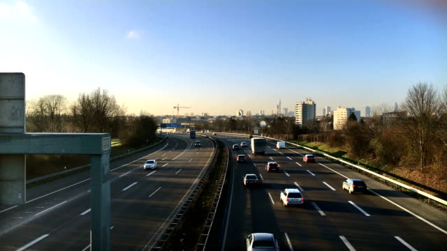 frankfurt highway and cityscape - autobahn video stock e b–roll