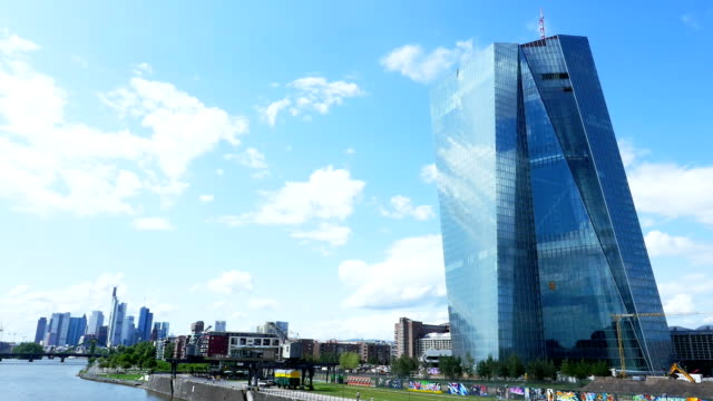 Frankfurt New ECB Building And Skyline T/L video