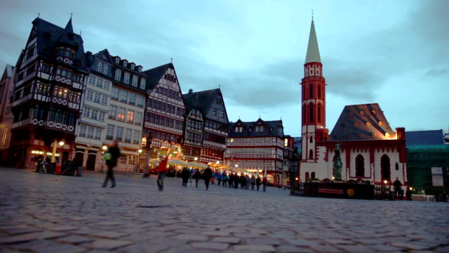 Frankfurt old town at dusk video