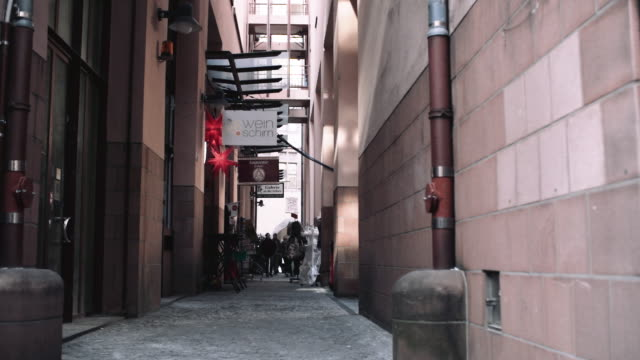 Frankfurt Shopping Alley Shopping alleyway in Frankfurt Germany. Long shot. alley stock videos & royalty-free footage