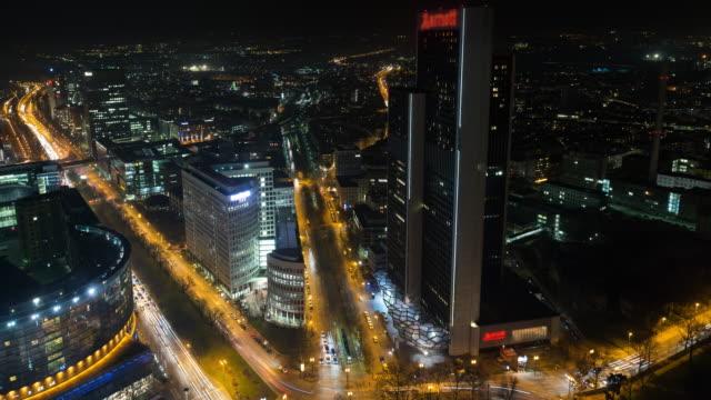 frankfurt westend time lapse at night - francoforte sul meno video stock e b–roll
