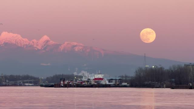 vídeos de stock e filmes b-roll de fraser river moonrise and birds 4k uhd - montanha costeira