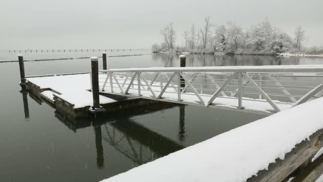 fiume fraser molo galleggiante, inverno, richmond - fiume fraser video stock e b–roll