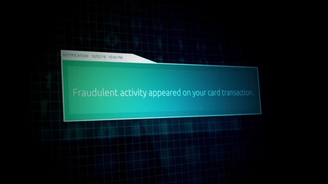 fraudulent activity on a bank account - online banking notification - вор стоковые видео и кадры b-roll