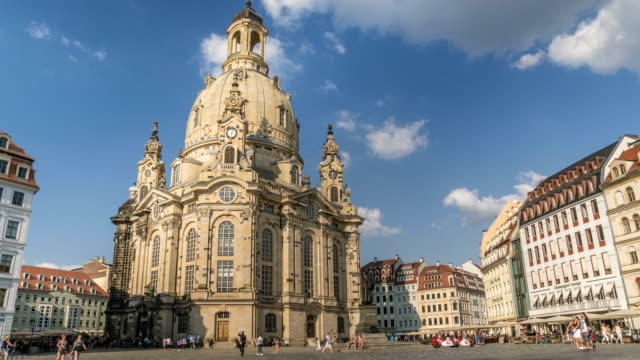 frauenkirche ,dresden, germany in summer - renaissance architecture stock videos & royalty-free footage