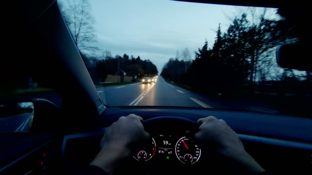 Fredensborg Denmark POV person vehicle day driving inside car dashboard Time-lapse photography is a technique whereby the frequency at which film frames are captured (the frame rate) is much more spread out than the frequency used to view the sequence.  Location: Denmark, Fredensborg, North Zealand, Sjælland land vehicle stock videos & royalty-free footage