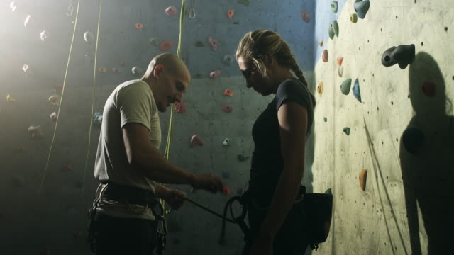 Free Climbing Instructor With Young Woman video