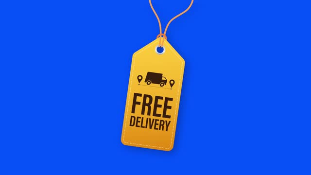 Free delivery. Badge with truck. Price tag. stock illustrtaion.