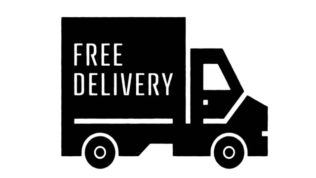 Free Delivery Line Drawing & Ink Splatter Animation with Alpha