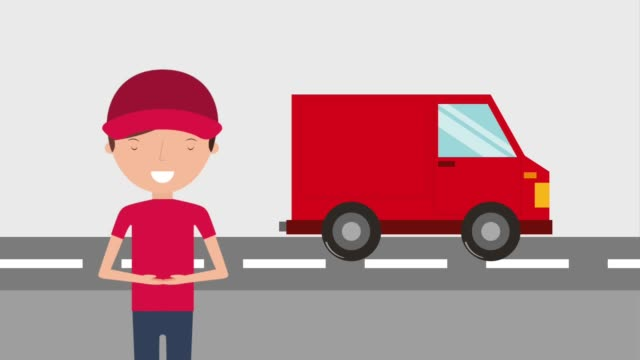 免費送貨服務 - postal worker 個影片檔及 b 捲影像
