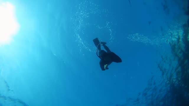 hd-zeitlupe: kostenlose diver winkt in die kamera. - sporttauchen stock-videos und b-roll-filmmaterial