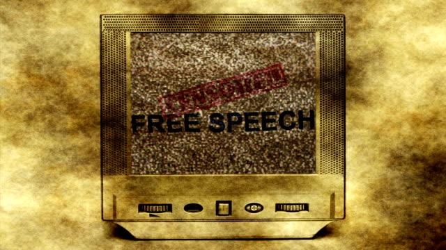 free speech on vintage tv concept - censura video stock e b–roll