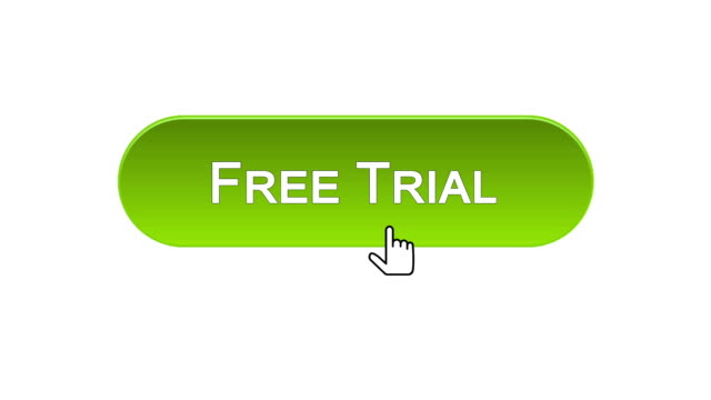 Free trial web interface button clicked with mouse cursor, different colors