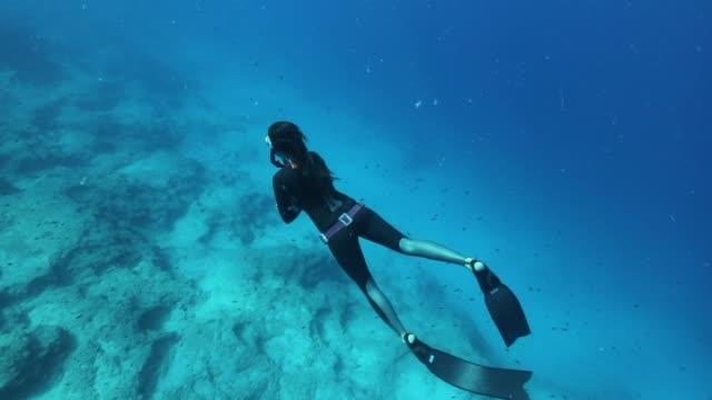 freediver tauchen im blauen wasser - tauchen stock-videos und b-roll-filmmaterial