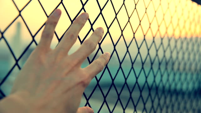 Freedom Abstract,hand holding the metal net