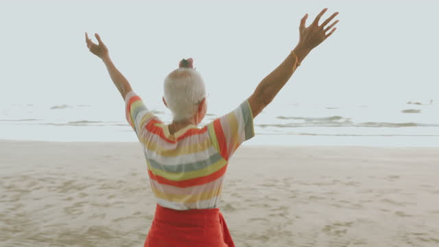freedom life of happiness eccentric grandmother-stock video video