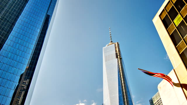 Freedom Tower and american flag. video