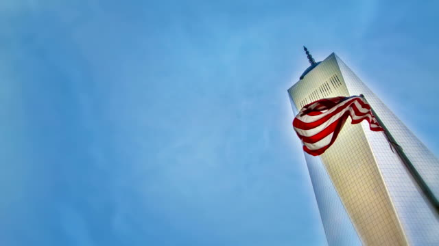 Freedom Tower and american flag.