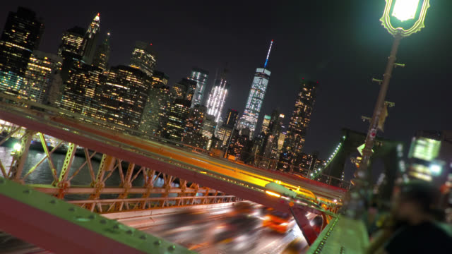 Freedom tower and manhattan view from Brooklyn bridge, New York video