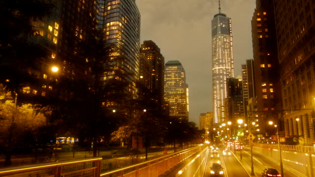 Freedom tower at night, in New York video