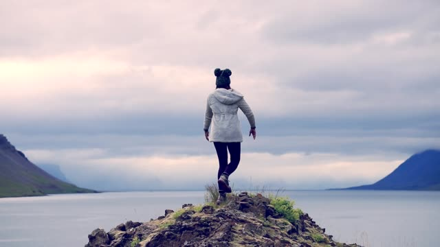 Freedom woman enjoy in Iceland, Slow motion video