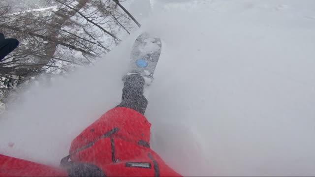 freeride snowboarder having fun on freshly fallen snow - sci freestyle video stock e b–roll