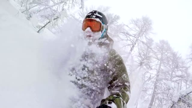 TW Freestyle snowboarder in the wilderness on snowy day video