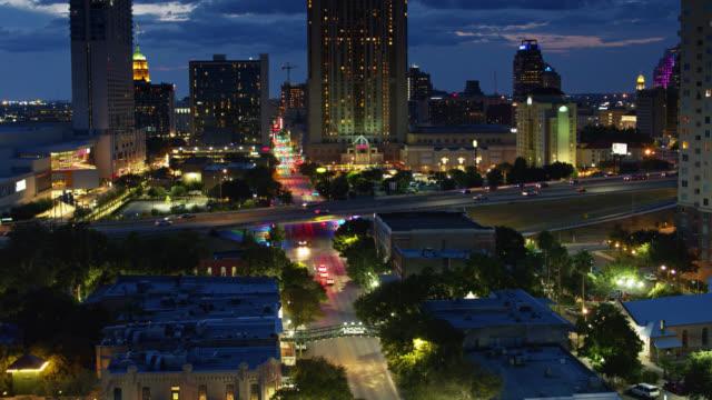 freeway dividing downtown and st pauls square, san antonio, texas - san antonio texas stock videos & royalty-free footage