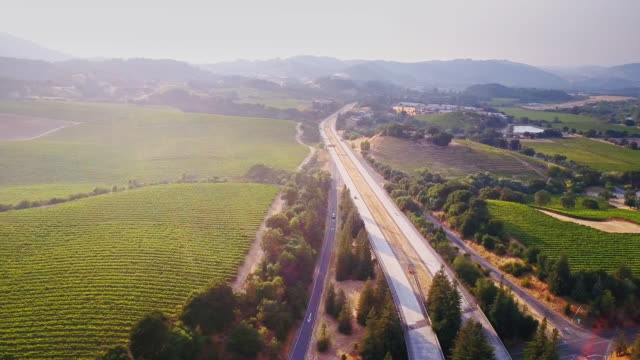 101 freeway in wine country - azienda vinivola video stock e b–roll
