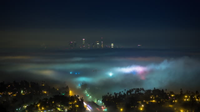 Freeway Traffic on Foggy Night in Los Angeles - Time Lapse video