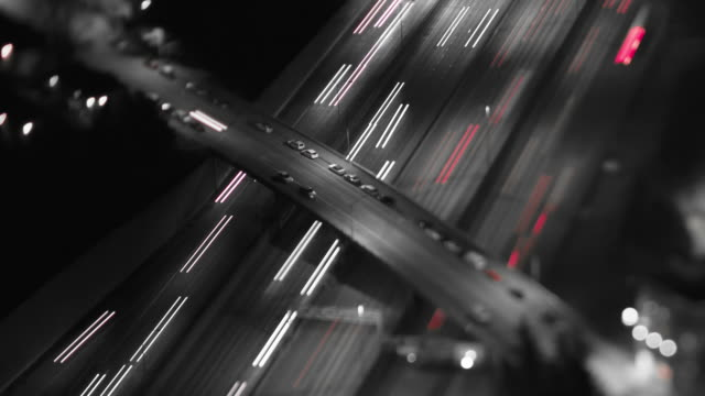 Freeway Traffic Time Lapse Night Tilt Shift video