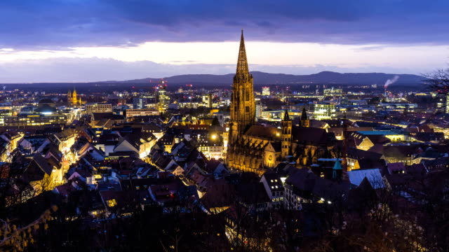 Freiburg in Germany at sunset, time lapse video