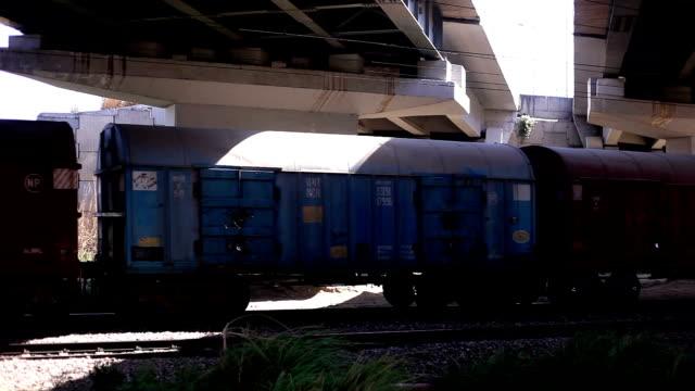 Freight Train crossing under the bridge video