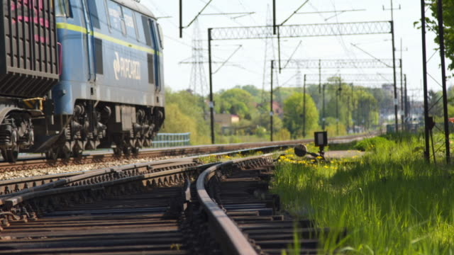 Freight Train Passing By tracks video