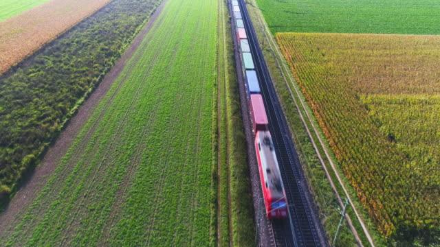 Güterzug auf der Durchreise Landschaft – Video